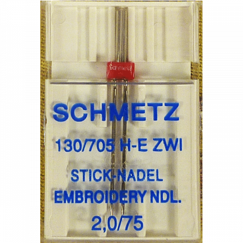 2.0/75 Aiguille Double à Broderie Schmetz - Embroidery Twin Needle