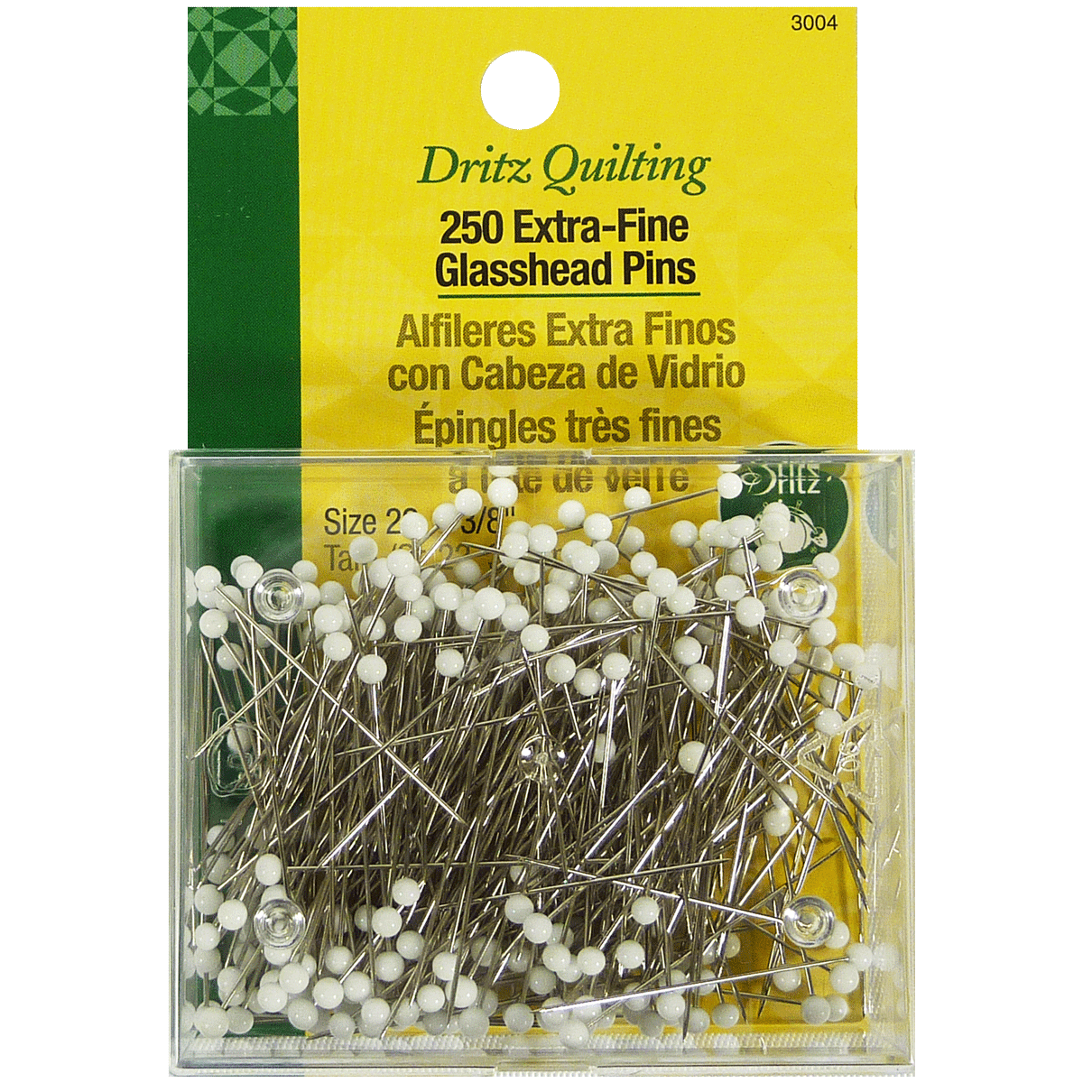 250 Épingles très Fines à Tête de Verre - Dritz Quilting