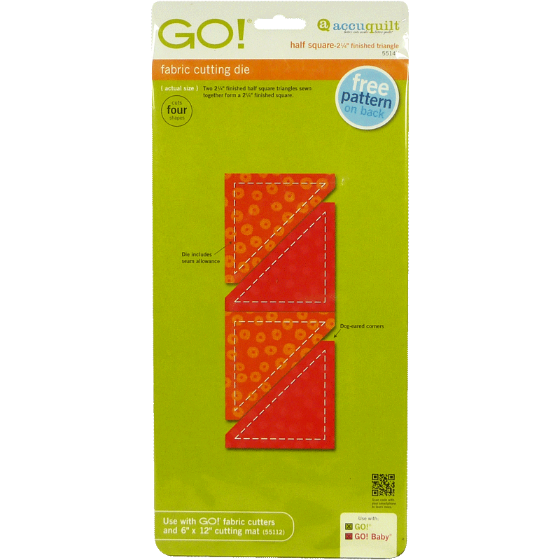 """AccuQuilt GO! Half Square-2 1/4"""" Finished Triangle"""
