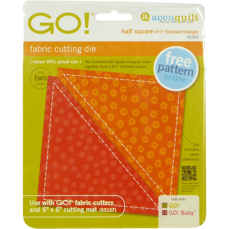 "AccuQuilt GO! Half Square-4 1/2"" Finished Triangle"