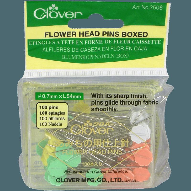 100 Flower Head Pins Boxed - Clover - Épingles à Tête en Forme de Fleur