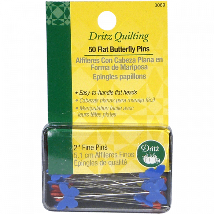 50 Flat Head Butterfly Pins - Dritz Quilting