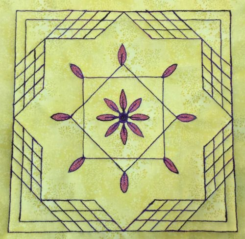 Quilt Block of the Month for August 2016 - Collection Inédith - Mandala #2 - Free Motion Quilting