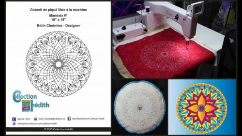 Quilt Block of the Month for June 2016 - Collection Inédith - Mandala #1 - Free Motion Quilting
