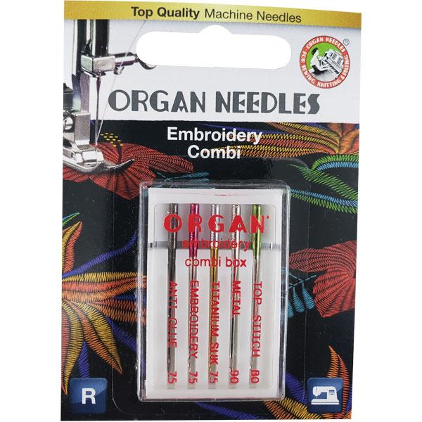organ embroidery needles combi