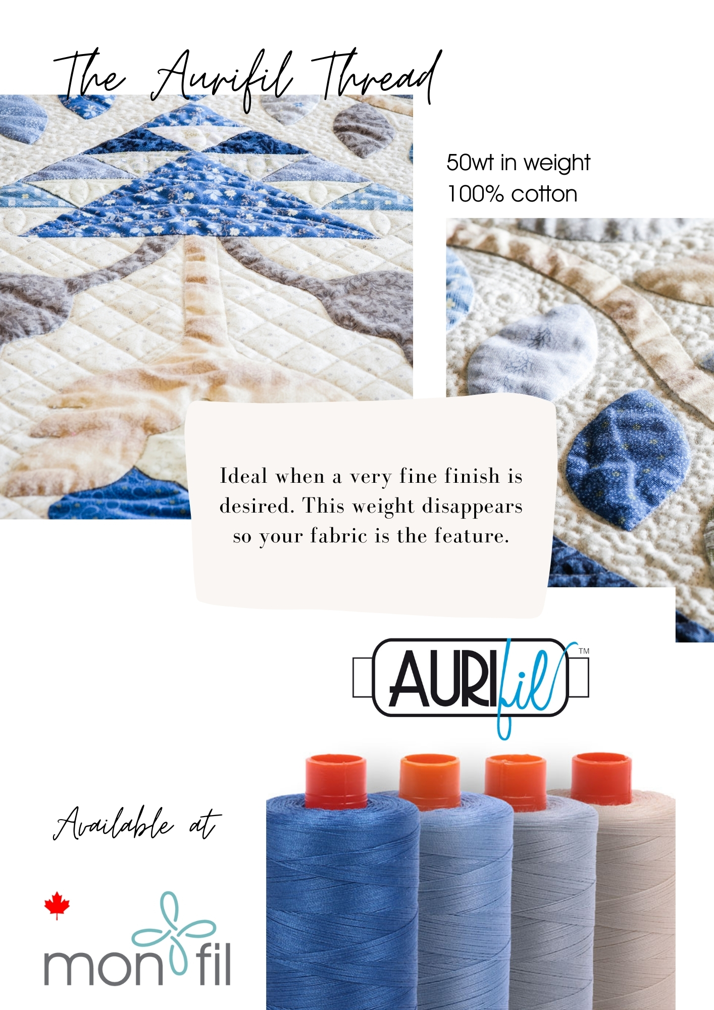 aurifil cotton quilting thread for a very fine finish